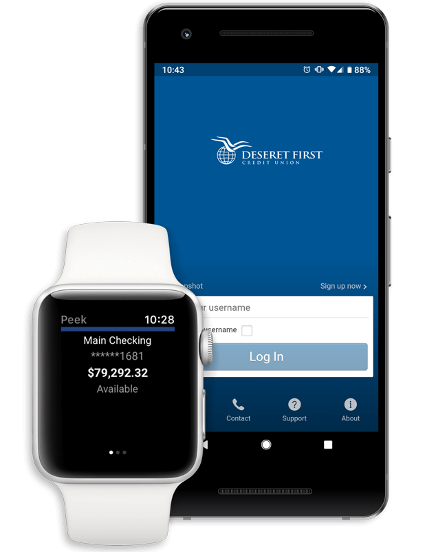 screenshots of DFCU app shown on an Apple Watch and Pixel phone