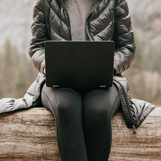 single individual sitting on a log in the mountains, checking their laptop
