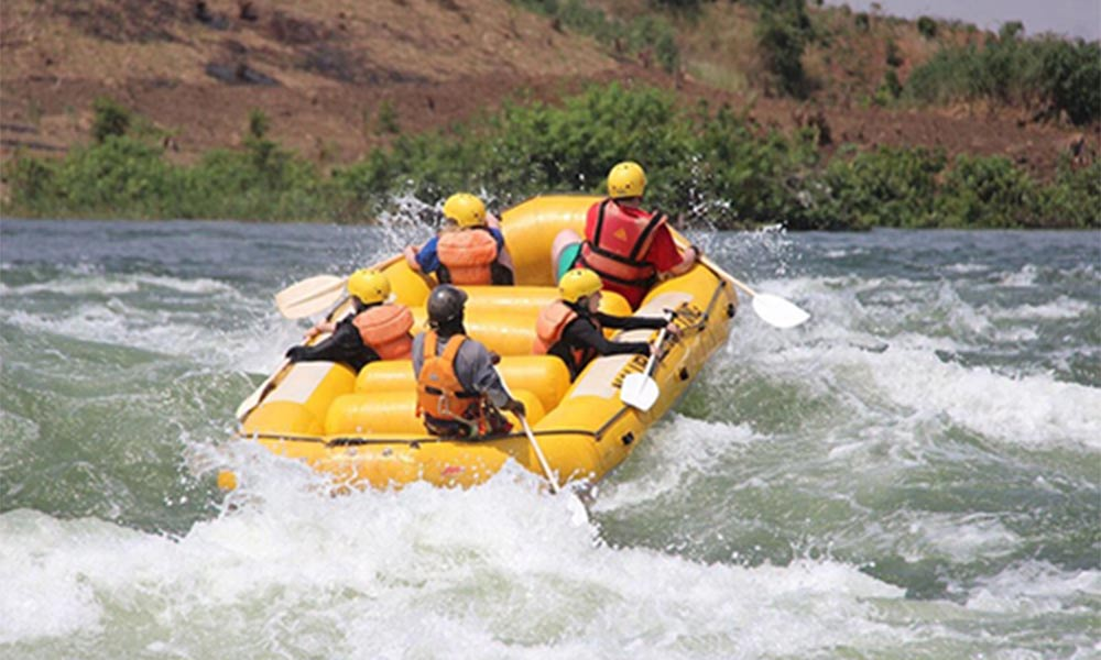 group river rafting down the Nile river