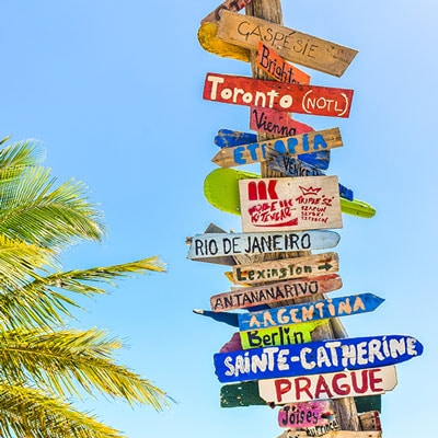 hand-painted direction signs with variety of countries