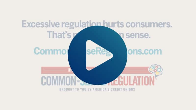 screengrab of CUNA video with play icon overlay; excessive regulation hurts