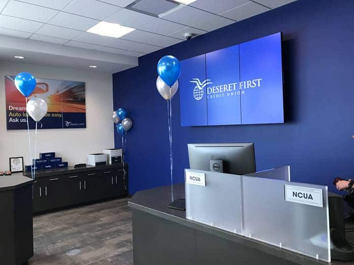 Taylorsville branch interior, with balloons and teller pods visible