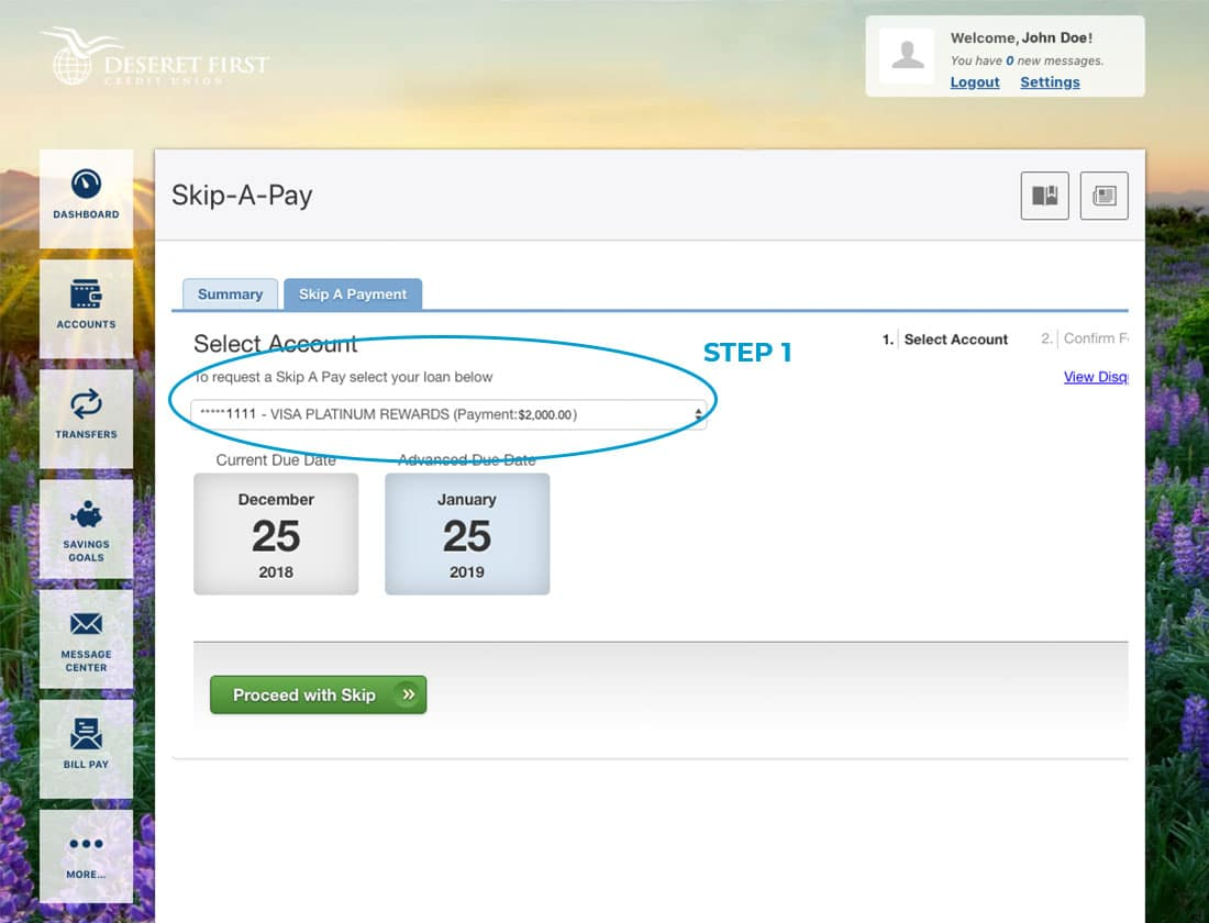 Screenshot of online banking with a circle highlighting the dropdown to select an account in Skip-A-Pay