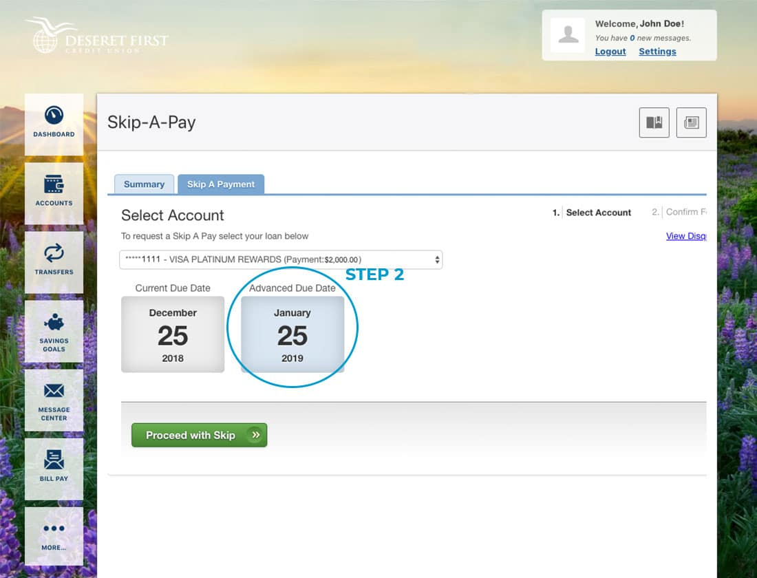 Screenshot of online banking with a circle highlighting the payment due date in Skip-A-Pay