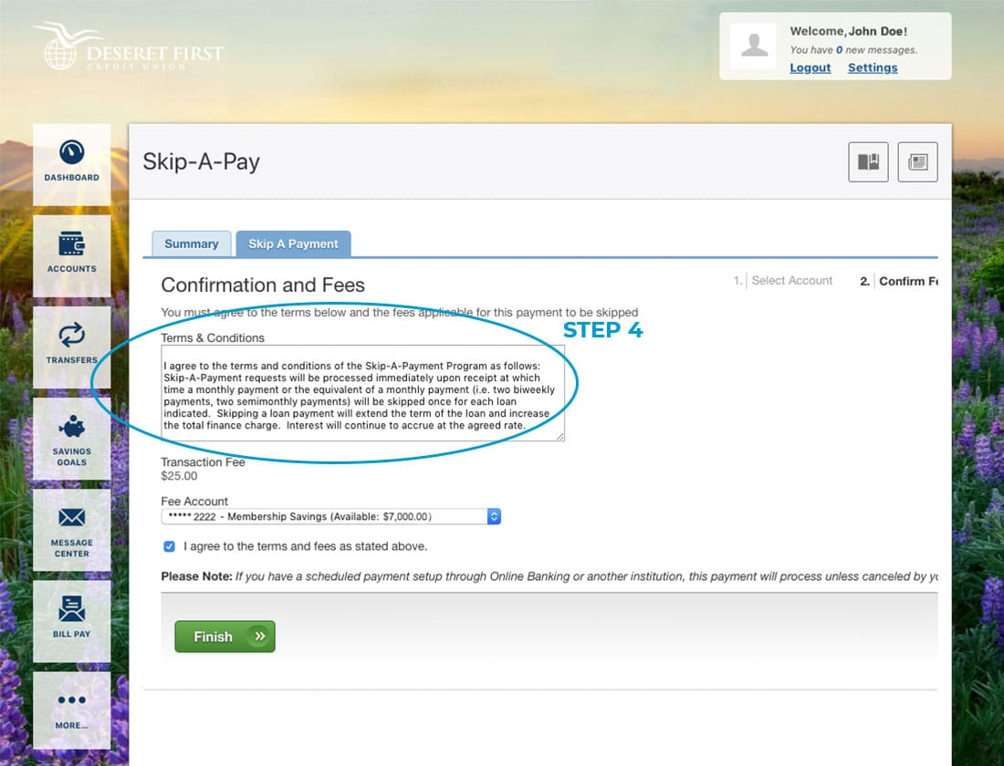 Screenshot of online banking with a circle around the terms & conditions section in Skip-A-Pay