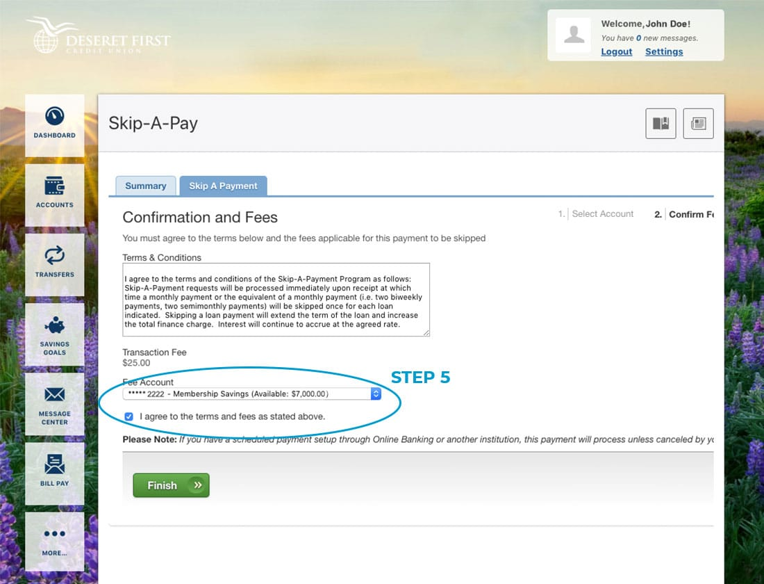 Screenshot of online banking with a circle around the fee account dropdown and 'I agree' checkbox