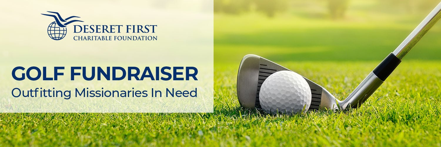 Golf club hitting a golf ball with the text: Golf Fundraiser Outfitting Missionaries in Need