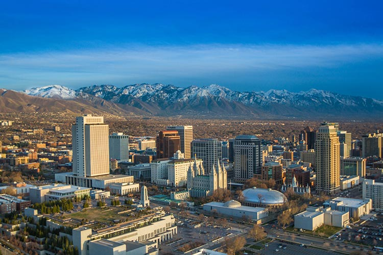 aerial view of downtown Salt Lake City, Wasatch mountains in the background