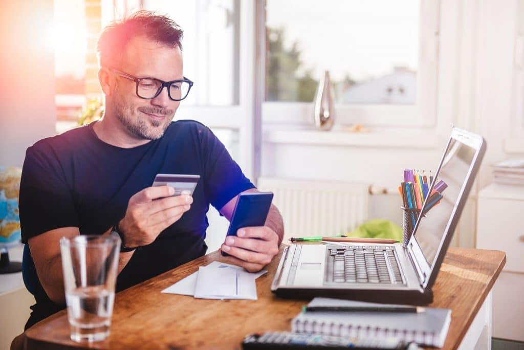 Man using online banking