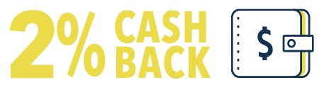 2% Cash Back and and icon of a wallet
