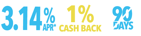 3.14% APR 1% Cash Back and No Payments for 90 Days