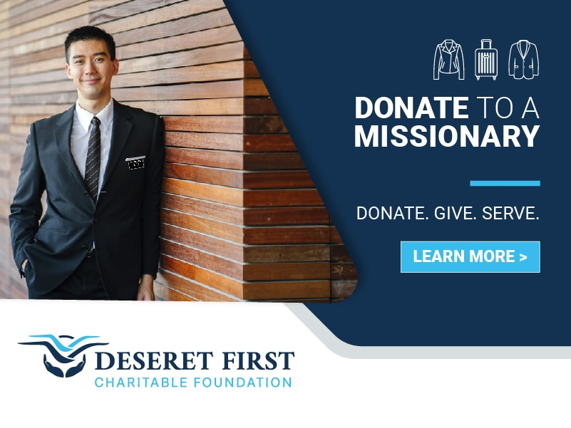 Missionary next to text saying donate to a missionary
